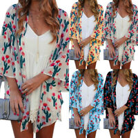 Women's 3/4 Sleeve Boho Floral Print Kimono Summer Beach Loose Cardigan Tops