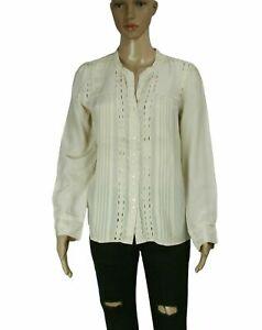 Gerard Darel Ruched Pintuck Cream Button Down Shirt Top Casual Silk New SZ L 42