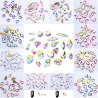 Nail Rhinestones Flat Bottom Glitter AB Color Crystal Tips Nail 3D Decoration