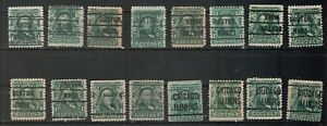 USA Scott #  300  1¢ Franklin Lot of 16 Mixed Precancel stamps (300-10)