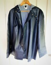 Dark Blue Helly Hansen raincoat with hood and one inside pocket size 22 pvc