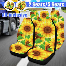 5PCS Car Seat Cover Sunflower Printed Front Seat Protective Mats Universal z g
