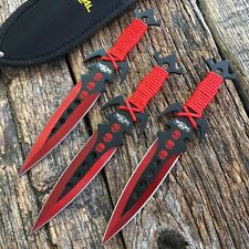"3Pc 7.5"" Ninja Tactical Combat Kunai Throwing Knife Set w/Sheath Red Hunting"