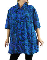 WeBeBop Women's Batik Plus Size Lakeside New Tunic Top 0X 1X 2X 3X 4X 5X 6X