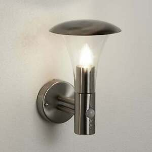 Strand Stainless Steel Outdoor Wall Light with Integrated PIR Motion Sensor