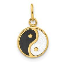 14k Yellow Gold Black/white Enamel Yin Yang Pendant Charm Necklace Peace