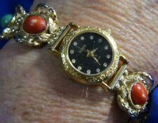 SUIKO RED GREEN YELLOW GOLD TONE RHINESTONE ESTATE BRACELET WATCH FRESH BATTERY