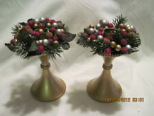 "2 Christmas/Anytime Candle Holder ...Gold with ""berries""..for Taper candles"