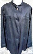 NEW $295~DKNY~BLACK Linen~LONG Jacket~Trench Coat~Blazer~Mandarin Collar~Sz 12 L
