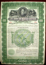 Lake Shore and Michigan Southern Railway Co. 1897 Gold Bond,cancelled