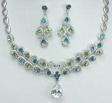 Stunning Wedding Bridal Costume Jewellery Set use Blue Green Swarovski Crystals
