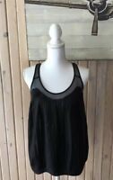 Club Monaco Women's top Black Size S 100% Silk Sheer Blend Sleeveless