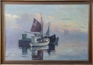 Einar Gross (1895-1960): FISHING SAILBOATS IN CALM SEA