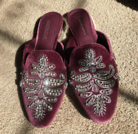Antonio Melani Oguna Jeweled Velvet Mules Flats Slip On Loafers Burgundy NWOB
