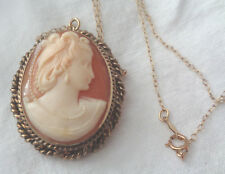 VICTORIAN SHELL CAMEO PENDANT/NECKLACE INRICATE CARVED DETAIL