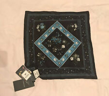 ERDEM x H&M Floral Silk Scarf Dark Blue Floral Black - NEW with Tags