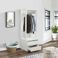 Kings Brand Furniture – Corry Open Wardrobe Armoire Closet with 2-Drawers, White