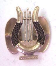 Antique Victorian 14k Gold Hair Harp Instrument Button Boutoniere Mourning #N925