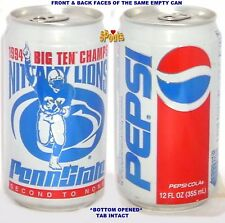 1994 PEPSI COLA PENN STATE BIG 10 TEN CHAMPS NCAA SPORTS SODA CAN NITTANY LIONS