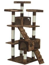 Shop4Omni 72 Inch Brown Cat Tree Lounge Tower Kitty Condo with Scratching Posts