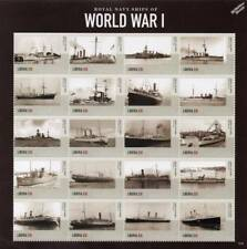 Royal Navy Warships of World War I WWI Ship Stamp Sheet # 2 (2015 Liberia)
