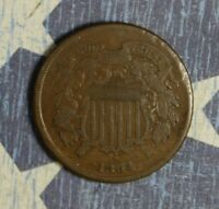 1864 2 CENT PIECE COPPER COLLECTOR COIN FREE SHIPPING