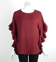 Joseph Ribkoff Top Blouse Tunic Sheer Ruffle Kimono Sleeves Cranberry Size 8 New
