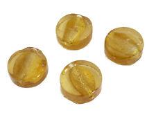 12 GLASPERLEN DISC 13mm altgold mit Silberfolie Perlen nenad-design AN161