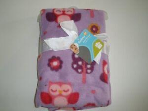 NWT Safety 1st Walmart Pink Purple Owl Tree Flower Floral Fleece Baby Blanket