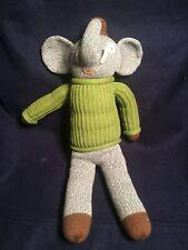 "Blabla Doll 19"" Hercule the Elephant Plush Toy Green Sweater Hand Knit Peru EUC"