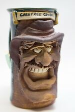 Vintage Carefree Cowboy POTTERY Stoneware Smiling Mustache Face Mug Coffee Cup