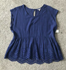 Sonoma Blue Top With High Waist Embroidery Size large Very Nice 100% Cotton