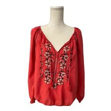Abercrombie and Fitch Rust Boho Embroidered Blouse Bell Sleeves Size Large Hippy