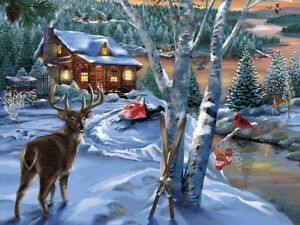 Jigsaw Puzzle Seasonal Christmas Holiday Visitors Winterscape 300 piece NEW