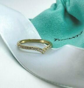 Tiffany & Co V Ring Yellow Gold 18k 750 Diamond Soleste Band Size 7