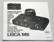 LEICA M5 Vintage Lens & Camera Guide Magazine Photography Book Brochure Leitz