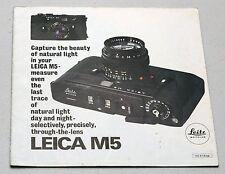 LEICA M5 Vintage Lens & Camera Guide Magazine Photography Book Brochure Leitz