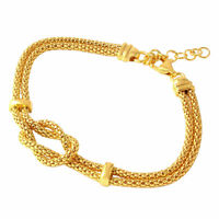 14K YELLOW GOLD OVER 925 STERLING SILVER KNOT & BAR BRACELET / 8'' ADJUSTABLE
