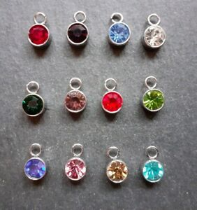 12 x Birthstone Charms, Bracelet Necklace Charms, Jewellery Making, UK Seller