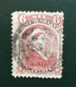 Stamps Newfoundland SC35 6c dull rose QV of 1870.fancy circles cancel.