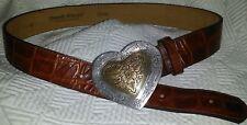 STREETS AHEAD Designer BELT HEART BUCKLE LOVE Medium Brown CROC Embossed Leather