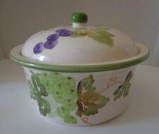 "Soup Tureen Kitchen Kettle Grapes Leaves Ceramic Green Rim 8"""