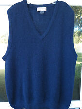 Paul Stuart 100% Alpaca Solid Navy Blue V-Neck Sweater Vest Medium Made in Peru