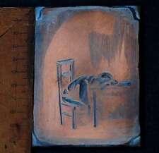 MANN AM TISCH Galvano Druckstock Kupferklischee Druckplatte Eichenberg Stuhl