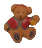 Hallmark Bear Vintage Christmas Pin HMK CDS Red Green Plastic Brooch Holiday