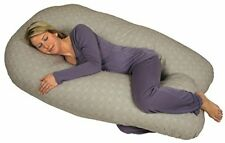 Leachco Back 'N Belly Chic Contoured Body Pillow w/ Zippered Cover - Taupe Rings