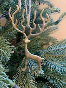 Pottery Barn Merry Reindeer Ornament Christmas Tree Stag New