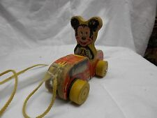 fisher price PUDDLE JUMPER MICKEY MOUSE wooden pull toy wood vintage toy 1950s