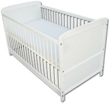 Babybett Kinderbett Juniorbett 2 in1 Umbaubar 140x70 Weiß mit Matratze Neu