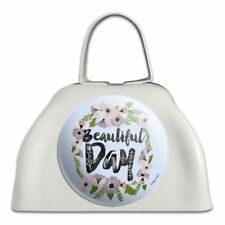 Beautiful Day Flowers Wedding Bridal Shower White Cowbell Cow Bell Instrument